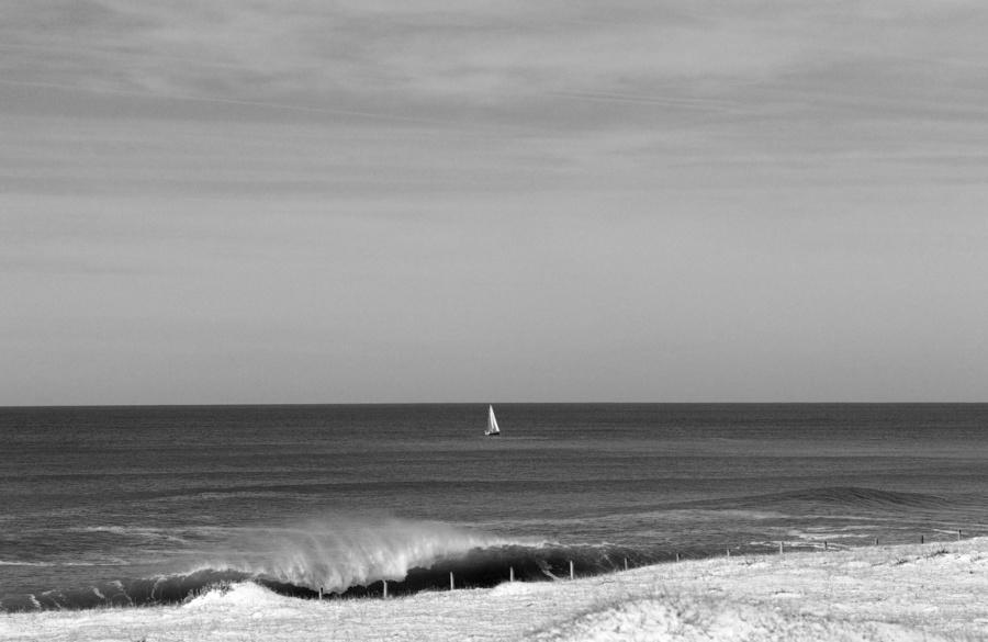 photo vague bateau noir et blanc landes